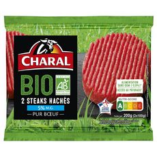 CHARAL Steaks Hachés Pur Bœuf 5%mg bio 2 pièces 200g