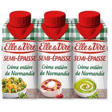 ELLE & VIRE Crème semi-épaisse entière 30%MG UHT 3x20cl