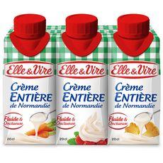 ELLE & VIRE Crème fluide entière 30%MG UHT 3x20cl