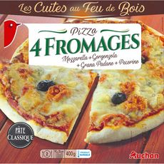 AUCHAN Pizza 4 fromages cuite au feu de bois 400g