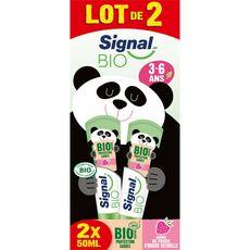 Signal Bio dentifrice enfant 3-6 ans arôme fraise origine naturelle 2x50ml