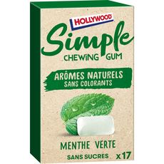 HOLLYWOOD Chewing-gum sans sucres menthe verte 17 chewing-gums
