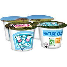 LES 2 VACHES Yaourt bio 0% nature brassé 4x115g