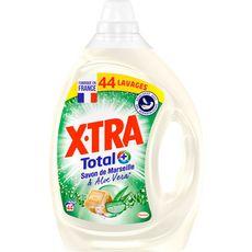 X-TRA Total Lessive liquide au savon de Marseille et aloe vera  44 lavages  2.2l