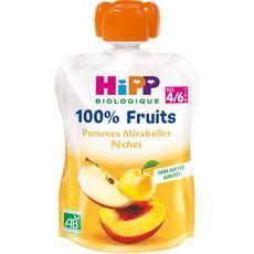 HiPP HIPP Gourde dessert 100% fruits pomme mirabelle pêche bio dès 4 mois