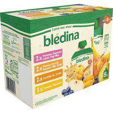 BLEDINA Assortiment gourdes dessert purée de fruits dès 8 mois 8x90g