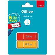 QILIVE BUNDLE USB2.0 8GB BTS PACK 2 SPECIAL - Rouge et orange