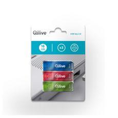 QILIVE Lot de 3 clés USB - 16 Go - Bleu, Rose, Vert