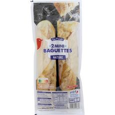 AUCHAN Minis baguettes précuites x2 2x150g
