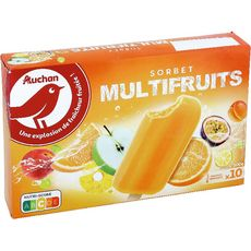 AUCHAN Bâtonnet glacé multifruits 10 pièces 500g