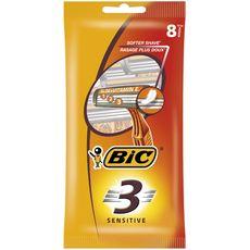 BIC Sensitive 3 Rasoirs jetables pour homme 8 rasoirs