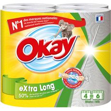 OKAY Essuie-tout blanc compact extra long = 6 standards 4 rouleaux