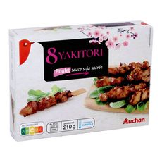 AUCHAN Yakitori au poulet sauce soja sucrée 8 pièces 210g