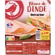 AUCHAN Blanc de dinde doré au four 4 tranches+ 1 offerte 150g