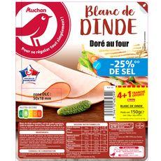AUCHAN Blanc de dinde doré au four -25% de sel 4 tranches+1 offerte 150g