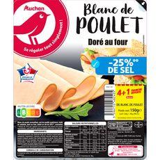 AUCHAN Blanc de poulet doré au four -25% de sel 4 tranches+1 offerte 150g