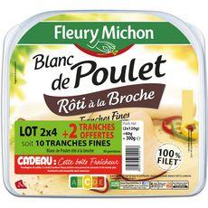 Fleury Michon Blanc de poulet cuit en tranches 2x4 +2 offertes 300g