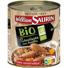 WILLIAM SAURIN Saucisses aux lentilles bio sans conservateur 840g
