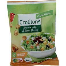 AUCHAN Croûtons spécial salade saveur ail et fines herbes 60g