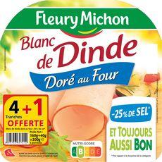 Fleury Michon Blanc de dinde sel réduit x4 tranches +1 offerte 200g