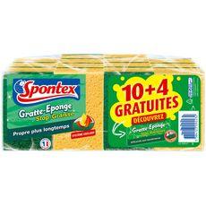 SPONTEX Gratte-éponge stop-graisse 14 pièces dont 4 gratuites