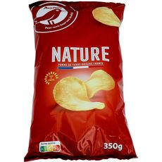 AUCHAN Chips nature à l'huile de tournesol 350g