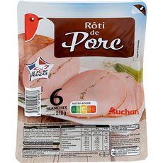 AUCHAN Roti de porc supérieur 6 tranches 210g