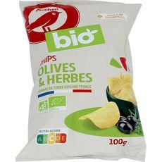 AUCHAN BIO Chips aromatisés aux olives et herbes de Provence 100g