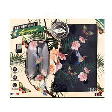 TNB Souris SF + Tapis Amazonia 2BUMWXAMAZ2 - Fleurs fond noir