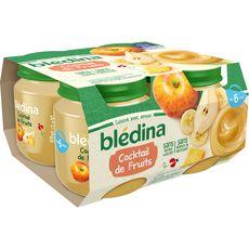 BLEDINA Petit pot dessert cocktail de fruits dès 6 mois 4x130g