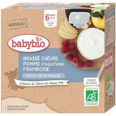 Babybio BABYBIO Gourde brassé au lait de chèvre pomme et framboise bio dès 6 mois