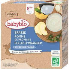 Babybio BABYBIO Gourde brassé au lait de vache, pomme et fleur d'oranger bio dès 6 mois