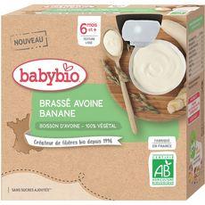 Babybio BABYBIO 100% végétal Gourde brassé avoine et banane bio dès 6 mois