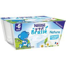 Nestlé NESTLE P'tit Brassé pot dessert brassé nature sans sucres ajoutés dès 6 mois