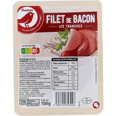 AUCHAN Filet de bacon fumé 12 tranches 150g