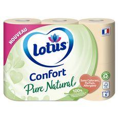 LOTUS Papier toilette blanc confort pure natural 6 rouleaux