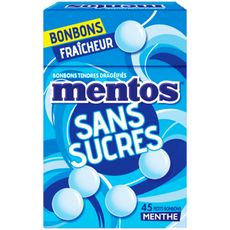 MENTOS Bonbons tendres dragéifiés à la menthe sans sucres 45 bonbons