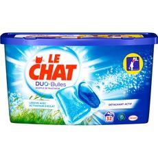 LE CHAT Duo-Bulles lessive capsules souffle de fraîcheur 32 lavages 32 capsules