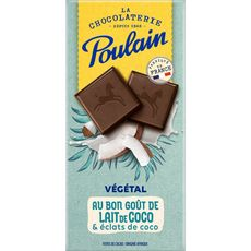 POULAIN Tablette de chocolat noir végétal au lait et éclats de coco 100g