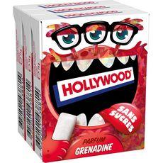 HOLLYWOOD Chewing-gum à la grenadine sans sucres 3x10 dragées