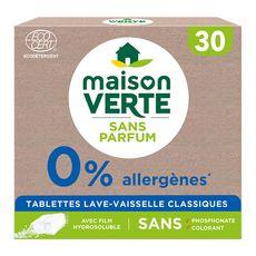 MAISON VERTE Tablettes lave-vaisselle écologiques sans parfum 30 lavages 30 tablettes