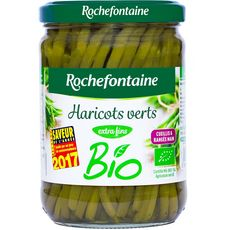 ROCHEFONTAINE Haricots verts extra fins bio bocal 280g