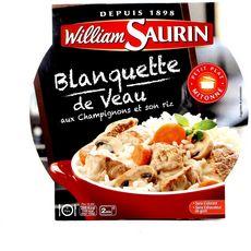WILLIAM SAURIN Blanquette de veau aux champignons et riz 1 assiette 285g