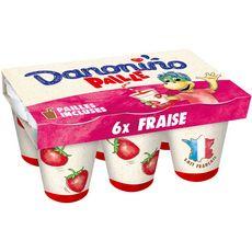 DANONINO Yaourt à boire saveur fraise avec paille 6x100g