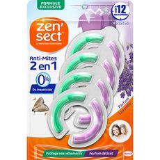 ZENSECT Anti-mites textile parfumé lavande 4x3 mois 4 pièces