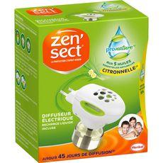 ZENSECT Diffuseur électrique avec recharge liquide citronnelle 45 jours 1 diffuseur