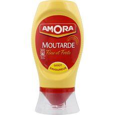 AMORA Moutarde fine et forte en squeeze top down, fabriqué en France 265g