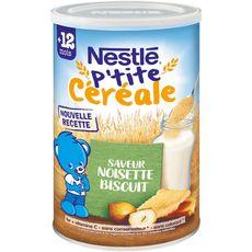 Nestlé NESTLE P'tite céréale saveur noisette biscuité en poudre dès 12 mois