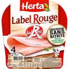 Herta Jambon cuit supérieur Label Rouge sans nitrite x4 tranches 120g