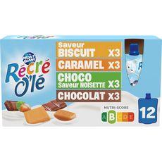 MONT BLANC Récré O'lé crème dessert en gourde biscuit caramel chocolat et noisette 12 gourdes 1,02kg